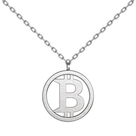 coulomb: Bitcoin Symbol as Silver Coulomb with Chain on a white background. 3d Rendering