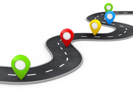 Camino sinuoso con Pin Pointer colorido sobre un fondo blanco. Representación 3d Foto de archivo