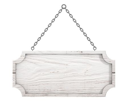 wooden post: Wooden Sign with Blank Space for Yours Design Hanging on a Chain on a white background. 3d Rendering