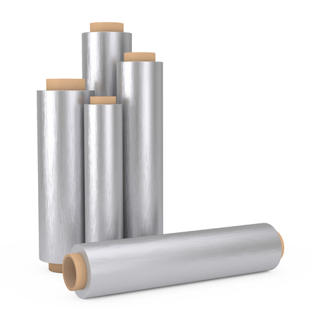 Food Aluminum Metal Packaging Foil Rolls on a white background. 3d Rendering