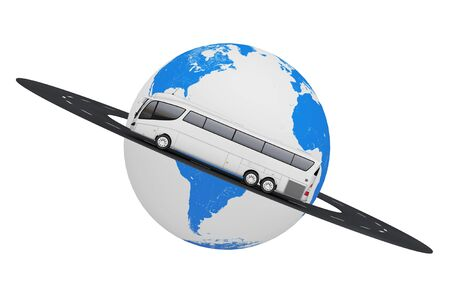 Big White Coach Tour Bus over Road Around Earth Globe on a white background. 3d Rendering
