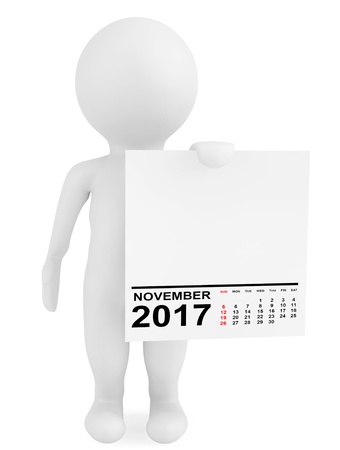 puppets: Character holding calendar November 2017 on a white background. 3d Rendering