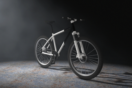 Black and White Mountain Bike  in the Volumetric Light on a black background. 3d Rendering
