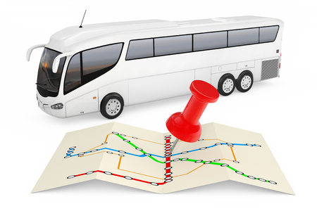 Bus Stations Map with Red Push Pin in front of Big White Coach Tour Bus on a white background. 3d Rendering