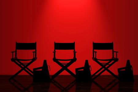어두운 방에서 벽 앞에 빨간색 백라이트가있는 의자, 영화 클래퍼 및 확성기 감독. 3D 렌더링