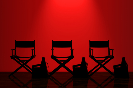 Director Chairs, Movie Clappers and Megaphones with Red Backlight in front of Wall in dark room. 3d Rendering Stock Photo
