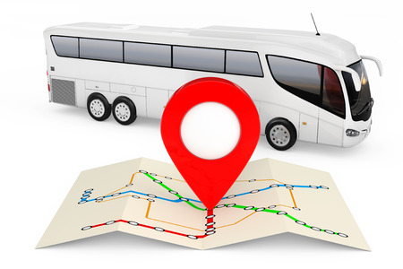 Bus Stations Map with Red Point Pin in front of Big White Coach Tour Bus on a white background. 3d Rendering