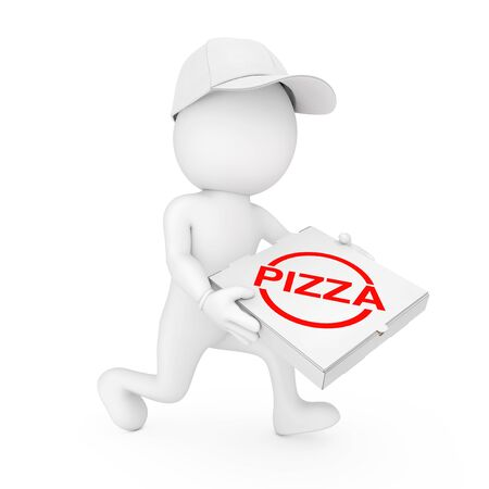 ピザ配達のコンセプトです。3 d 文字ピザ ディーラー急いで白い背景にピザを配達する手でピザの箱。3 d レンダリング