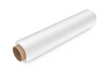 Roll of White Wrapping Plastic Transparent Packaging Stretch Film on a white background. 3d Rendering