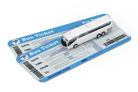 Big White Coach Tour Bus over Bus Tickets on a white background. 3d Rendering Фото со стока