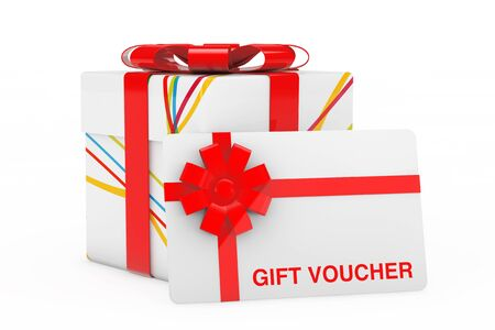 Gift Voucher Card with Stripped White Gift Box with Red Bow on a white background. 3d Rendering