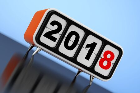 Retro Flip Clock with 2018 New Year Sign on a blue background. 3d Rendering