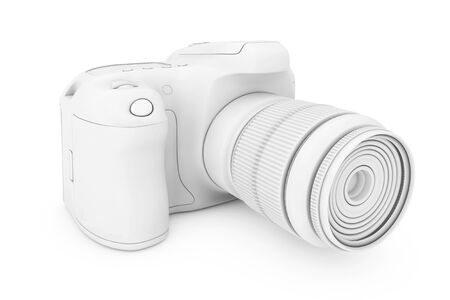 photography equipment: White Clay Mockup Modern Digital Photo Camera on a white background. 3d Rendering Stock Photo