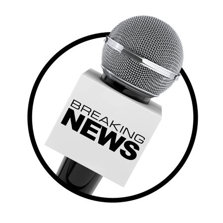 Microphone with Breaking News Box Sign as Circle Icon on a white background. 3d Rendering Stock Photo