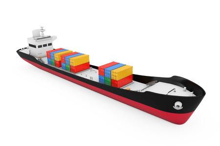 Bedrijfslogistiek Concept. Tanker of Containervrachtschip op een witte achtergrond. 3D-rendering