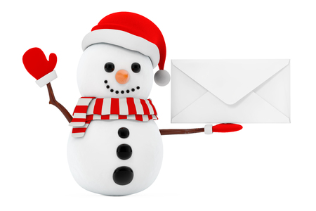 New Year Concept. Snowman with Blank White Envelope on a white background. 3d Rendering