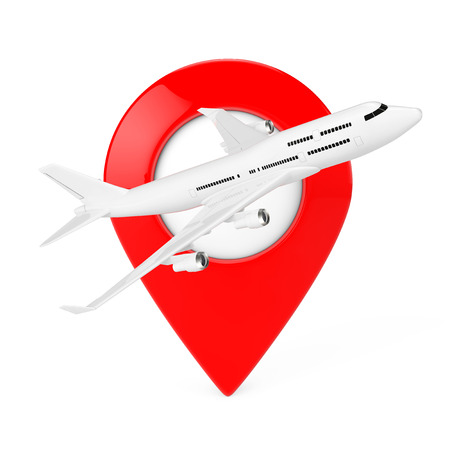 White Jet Passengers Airplane with Red Map Target Pin on a white background. 3d Rendering. Stock Photo