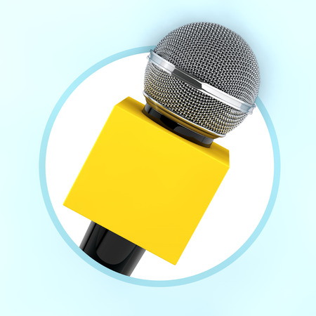 Microphone with Copy Space Box for Yours Design as Circle Icon on a blue background. 3d Rendering