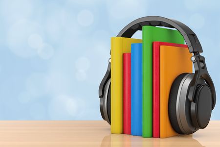 Audio Book Concept. Black Wireless Headphones with Books on a wooden table. 3d Rendering