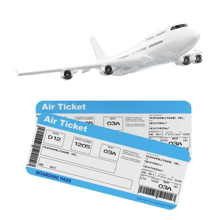 White Jet Passengers Airplane with Airline Boarding Pass Tickets on a white background. 3d Rendering