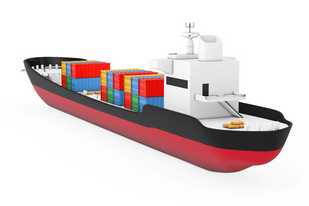 Business Logistic Concept. Tanker or Container Cargo Ship on a white background. 3d Rendering Foto de archivo