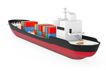 Concepto de logística empresarial. Buque de carga del petrolero o del envase en un fondo blanco. Representación 3D Foto de archivo - 89226354