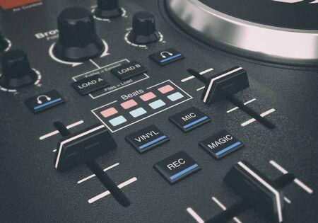 Black Modern DJ Set Turntable Mixer Equipment extreme closeup. 3d Rendering Stock Photo