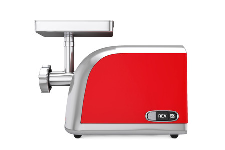 Red Electric Meat Grinder on a white background. 3d Rendering