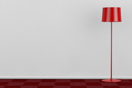 Red Modern Floor Lamp in Room with Red Carpet Floor and White Wall extreme closeup. 3d Rendering