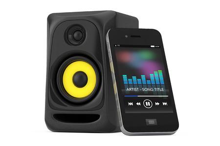 ワイヤレス オーディオ音響スピーカーは、白い背景の上の携帯電話に接続。3 d レンダリング