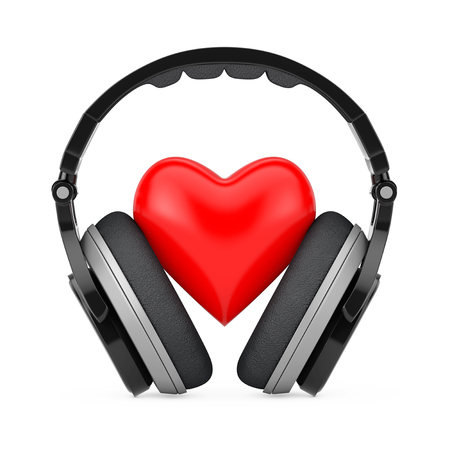 Love Music Concept. Black Wireless Headphones and a Red Heart on a white background. 3d Rendering Stock Photo