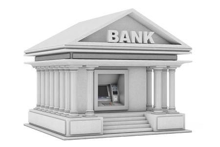 白い背景に銀行の建物として銀行現金 ATM 機で構築します。3d レンダリング 写真素材