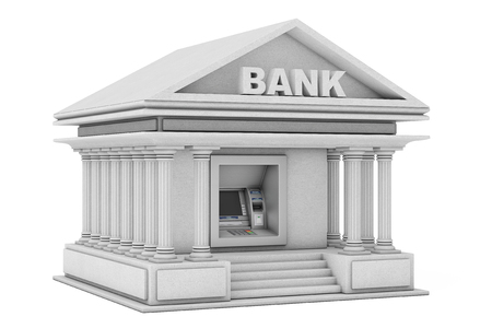 Build In Bank Cash ATM Machine As Bank Building on a white background. 3d Rendering