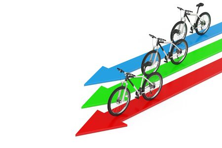 Direction to Success Concept. Black and White Mountain Bike over Arrows on a white background. 3d Rendering