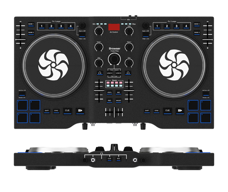 Black Modern DJ Set Turntable Mixer Equipment on a white background. 3d Rendering