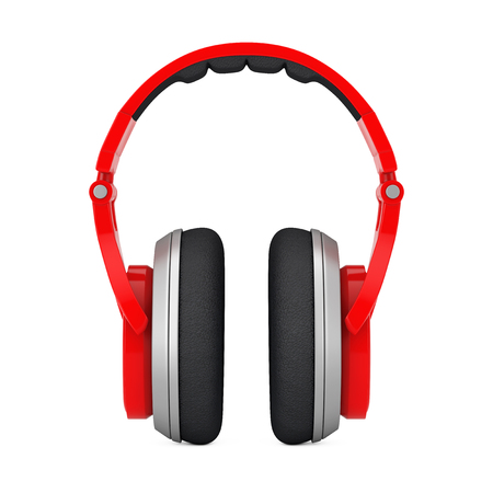 Red Wireless Headphones extreme closeup on a white background. 3d Rendering Stock Photo