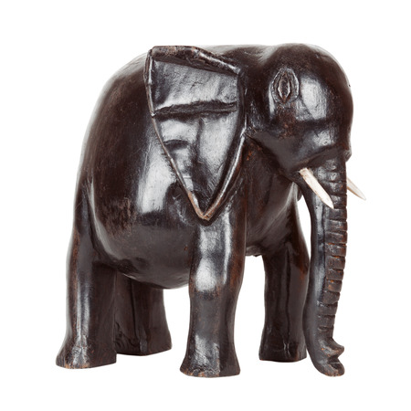 African Antique Black Ebony Statue of Elephant on a white background