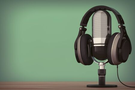 Black Headphones over Microphone on a wooden table. 3d Rendering