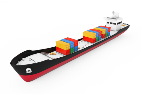 Business Logistic Concept. Tanker or Container Cargo Ship on a white background. 3d Rendering Stock Photo