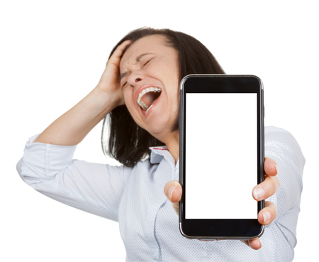 Depressed, Stressed, Panic, Shocked and Screaming Beautiful Woman when using Mobile Phone with Blank Screen for Yours Design on a white background