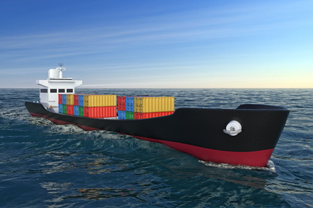 Business Logistic Concept. Tanker or Container Cargo Ship Moving in Ocean Water extreme closeup. 3d Rendering