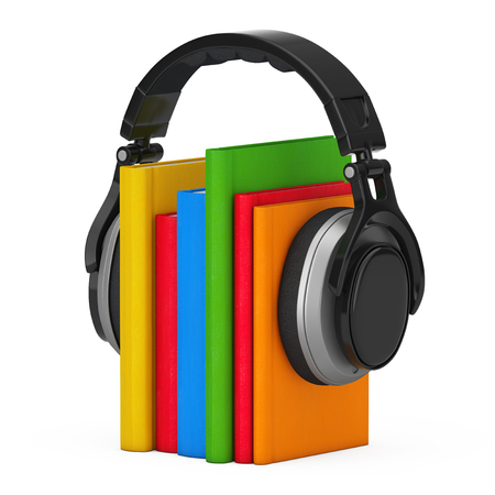 Audio Book Concept. Black Wireless Headphones with Books on a white background. 3d Rendering