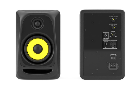 Audio Studio Acoustic Speakers on a white background. 3d Rendering Stock Photo