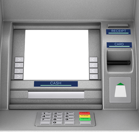 Bank Cash ATM Machine extreme closeup. 3d Rendering Stok Fotoğraf