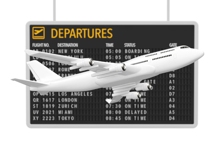 Air Travel Concept. White Jet Passengers Airplane near Airport Departures Table on a white background. 3d Rendering.