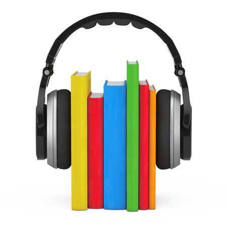 earphone: Audio Book Concept. Black Wireless Headphones with Books on a white background. 3d Rendering