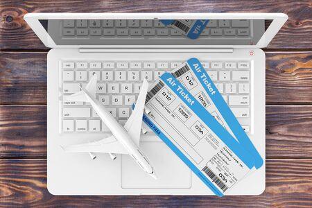 Online Booking Concept. Luchtvaartmaatschappij instapkaart tickets met Jet Airplane over Laptop op een houten tafel extreme close-up. 3D-rendering