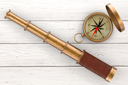 Golden Vintage Telescope Spyglass with Compass over Wooden Table extreme closeup. 3d Rendering Stock Photo