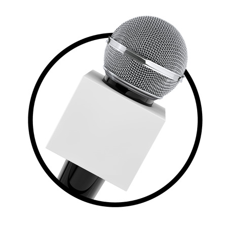 Microphone with Copy Space Box for Yours Design as Circle Icon on a white background. 3d Rendering
