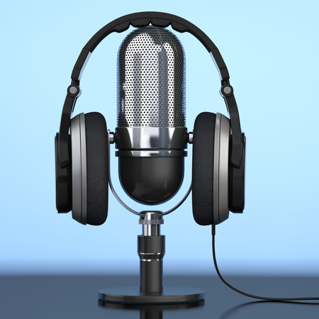 Black Headphones over Microphone on a blue background. 3d Rendering